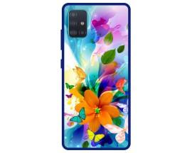 Husa Premium Spate Upzz Pro Anti Shock Compatibila Cu Samsung Galaxy A51, Model Painted Butterflies 2, Rama Albastra