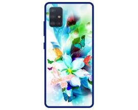 Husa Premium Spate Upzz Pro Anti Shock Compatibila Cu Samsung Galaxy A51, Model Painted Butterflies, Rama Albastra