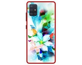 Husa Premium Spate Upzz Pro Anti Shock Compatibila Cu Samsung Galaxy A51, Model Painted Butterflies, Rama Rosie