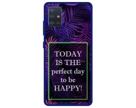 Husa Premium Spate Upzz Pro Anti Shock Compatibila Cu Samsung Galaxy A51, Model Perfect Day, Rama Albastra