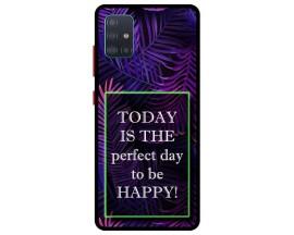 Husa Premium Spate Upzz Pro Anti Shock Compatibila Cu Samsung Galaxy A51, Model Perfect Day, Rama Neagra
