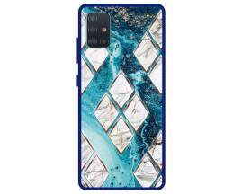 Husa Premium Spate Upzz Pro Anti Shock Compatibila Cu Samsung Galaxy A51 5G, Model Marble 1, Rama Albastra