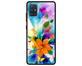 Husa Premium Spate Upzz Pro Anti Shock Compatibila Cu Samsung Galaxy A51 5G, Model Painted Butterflies 2, Rama Neagra