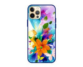 Husa Premium Spate Upzz Pro Anti Shock Compatibila Cu Iphone 12 Pro Max, Model Painted Butterflies 2, Rama Albastra