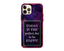 Husa Premium Spate Upzz Pro Anti Shock Compatibila Cu Iphone 12 Pro Max, Model Perfect Day, Rama Rosie