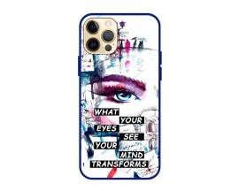 Husa Premium Spate Upzz Pro Anti Shock Compatibila Cu Iphone 12 Pro Max, Model Your Eyes, Rama Albastra