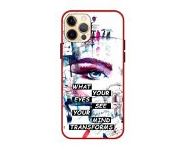 Husa Premium Spate Upzz Pro Anti Shock Compatibila Cu Iphone 12 Pro Max, Model Your Eyes, Rama Rosie