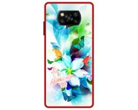 Husa Premium Spate Upzz Pro Anti Shock Compatibila Cu Poco X3 NFC, Model Painted Butterflies, Rama Rosie