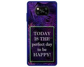 Husa Premium Spate Upzz Pro Anti Shock Compatibila Cu Poco X3 NFC, Model Perfect Day, Rama Albastra