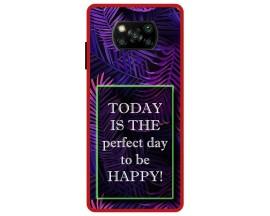 Husa Premium Spate Upzz Pro Anti Shock Compatibila Cu Poco X3 NFC, Model Perfect Day, Rama Rosie