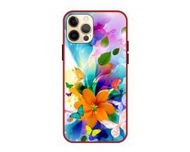 Husa Premium Spate Upzz Pro Anti Shock Compatibila Cu Iphone 12 Pro, Model Painted Butterflies 2, Rama Rosie