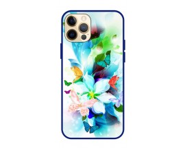 Husa Premium Spate Upzz Pro Anti Shock Compatibila Cu Iphone 12 Pro, Model Painted Butterflies, Rama Albastra