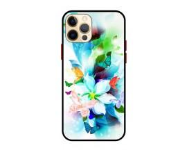 Husa Premium Spate Upzz Pro Anti Shock Compatibila Cu Iphone 12 Pro, Model Painted Butterflies, Rama Neagra