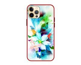 Husa Premium Spate Upzz Pro Anti Shock Compatibila Cu Iphone 12 Pro, Model Painted Butterflies, Rama Rosie