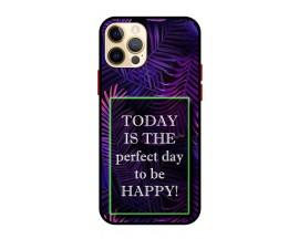 Husa Premium Spate Upzz Pro Anti Shock Compatibila Cu Iphone 12 Pro, Model Perfect Day, Rama Neagra