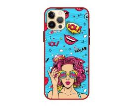 Husa Premium Spate Upzz Pro Anti Shock Compatibila Cu Iphone 12 Pro, Model Wow, Rama Rosie