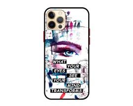 Husa Premium Spate Upzz Pro Anti Shock Compatibila Cu Iphone 12 Pro, Model Your Eyes, Rama Neagra
