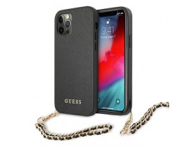 Husa Spate Premium Guess Compatibila Cu iPhone 12 Pro Max, Colectia Saffiano Chain, Negru - 4194