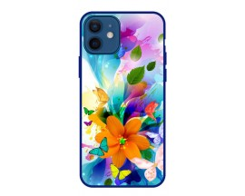 Husa Premium Spate Upzz Pro Anti Shock Compatibila Cu Iphone 12, Model Painted Butterflies 2, Rama Albastra