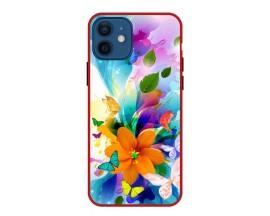 Husa Premium Spate Upzz Pro Anti Shock Compatibila Cu Iphone 12, Model Painted Butterflies 2, Rama Rosie