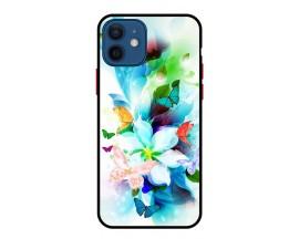 Husa Premium Spate Upzz Pro Anti Shock Compatibila Cu Iphone 12, Model Painted Butterflies, Rama Neagra