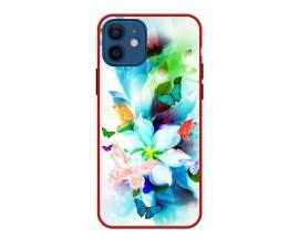 Husa Premium Spate Upzz Pro Anti Shock Compatibila Cu Iphone 12, Model Painted Butterflies, Rama Rosie