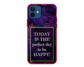 Husa Premium Spate Upzz Pro Anti Shock Compatibila Cu Iphone 12, Model Perfect Day, Rama Rosie