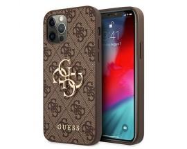 Husa Spate Premium Guess Compatibila Cu iPhone 12 / 12 Pro, Colectia Big Metal Logo, Maro - 4545