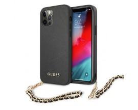Husa Spate Premium Guess Compatibila Cu iPhone 12 / 12 Pro, Colectia Saffiano Chain, Negru - 4187