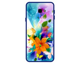 Husa Premium Spate Upzz Pro Anti Shock Compatibila Cu Samsung Galaxy J4+ Plus, Model Painted Butterflies 2, Rama Albastra