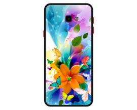 Husa Premium Spate Upzz Pro Anti Shock Compatibila Cu Samsung Galaxy J4+ Plus, Model Painted Butterflies 2, Rama Neagra