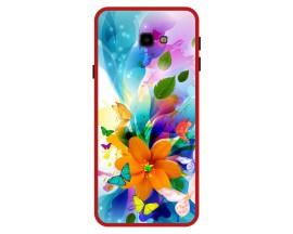 Husa Premium Spate Upzz Pro Anti Shock Compatibila Cu Samsung Galaxy J4+ Plus, Model Painted Butterflies 2, Rama Rosie