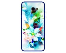Husa Premium Spate Upzz Pro Anti Shock Compatibila Cu Samsung Galaxy J4+ Plus, Model Painted Butterflies, Rama Albastra