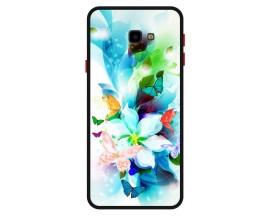 Husa Premium Spate Upzz Pro Anti Shock Compatibila Cu Samsung Galaxy J4+ Plus, Model Painted Butterflies, Rama Neagra