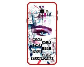 Husa Premium Spate Upzz Pro Anti Shock Compatibila Cu Samsung Galaxy J4+ Plus, Model Your Eyes, Rama Rosie