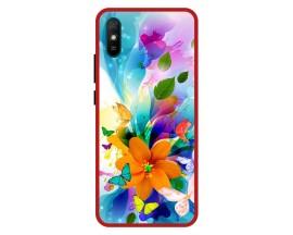Husa Premium Spate Upzz Pro Anti Shock Compatibila Cu Xiaomi Redmi 9A, Model Painted Butterflies 2, Rama Rosie