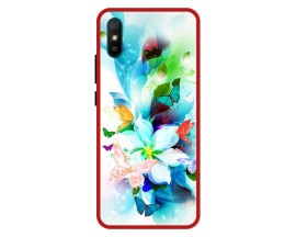 Husa Premium Spate Upzz Pro Anti Shock Compatibila Cu Xiaomi Redmi 9A, Model Painted Butterflies, Rama Rosie