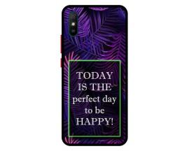 Husa Premium Spate Upzz Pro Anti Shock Compatibila Cu Xiaomi Redmi 9A, Model Perfect Day, Rama Neagra