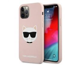 Husa Spate Premium Karl Lagerfeld Compatibila Cu iPhone 12 Pro Max, Colectia Silicone Choupette, Silicon Roz - 9320
