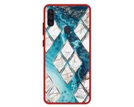 Husa Premium Spate Upzz Pro Anti Shock Compatibila Cu Samsung Galaxy M11, Model Marble 1, Rama Rosie