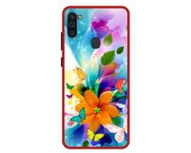 Husa Premium Spate Upzz Pro Anti Shock Compatibila Cu Samsung Galaxy M11, Model Painted Butterflies 2, Rama Rosie