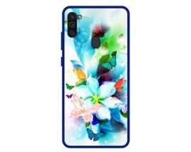 Husa Premium Spate Upzz Pro Anti Shock Compatibila Cu Samsung Galaxy M11, Model Painted Butterflies, Rama Albastra
