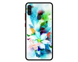 Husa Premium Spate Upzz Pro Anti Shock Compatibila Cu Samsung Galaxy M11, Model Painted Butterflies, Rama Neagra
