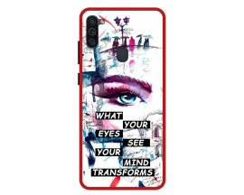 Husa Premium Spate Upzz Pro Anti Shock Compatibila Cu Samsung Galaxy M11, Model Your Eyes, Rama Rosie