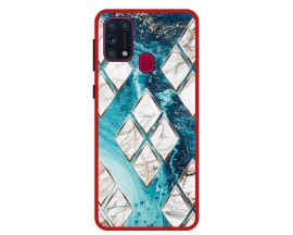 Husa Premium Spate Upzz Pro Anti Shock Compatibila Cu Samsung Galaxy M31, Model Marble 1, Rama Rosie
