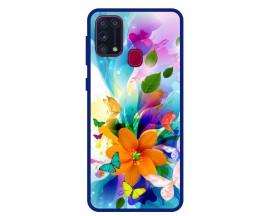 Husa Premium Spate Upzz Pro Anti Shock Compatibila Cu Samsung Galaxy M31, Model Painted Butterflies 2, Rama Albastra