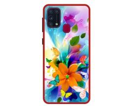 Husa Premium Spate Upzz Pro Anti Shock Compatibila Cu Samsung Galaxy M31, Model Painted Butterflies 2, Rama Rosie