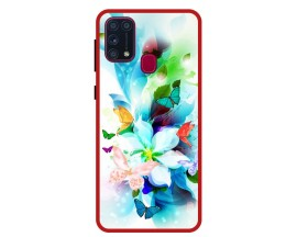 Husa Premium Spate Upzz Pro Anti Shock Compatibila Cu Samsung Galaxy M31, Model Painted Butterflies, Rama Rosie