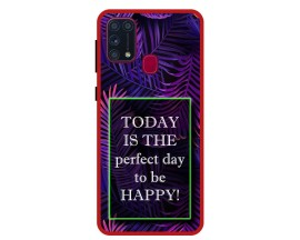 Husa Premium Spate Upzz Pro Anti Shock Compatibila Cu Samsung Galaxy M31, Model Perfect Day, Rama Rosie