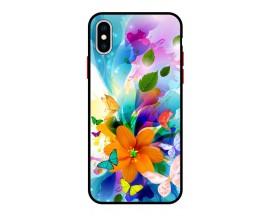 Husa Premium Spate Upzz Pro Anti Shock Compatibila Cu Iphone X - XS, Model Painted Butterflies 2, Rama Neagra